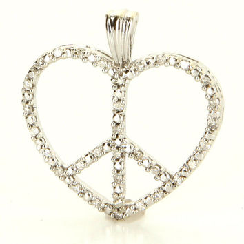 Vintage 10 Karat White Gold Diamond Heart Peace Pendant Fine Estate Jewelry