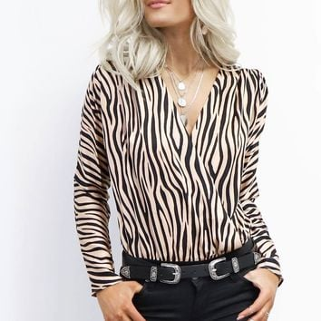 All Here Rose Gold Zebra Wrap Bodysuit