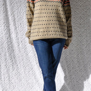 Vintage J Crew Sweater/ CrewNeck Sweater/ Mod Preppy Pullover Sweater/ Oatmeal w. NavyBlue & Red Wool Sweater/ xl