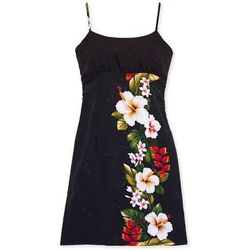 paradise black short hawaiian spaghetti dress