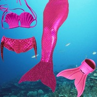 2017 Factory unique design Direct Sale Full Scale Mermaid Tail Swimmable Swimsuit for girls Birthday gifts Swimwear Bikini