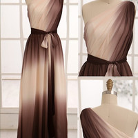 Ombre Chiffon Bridesmaid Dress/Prom Dress One Shoulder Coffee/brown Ivory Chiffon Dress