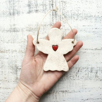 Angel ornament heart ornament Scandi Christmas ornament Scandinavian Christmas decoration rustic cottage chic shabby chic red white 4 inches