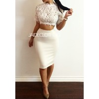 White Bodycon Skirt - Jaide Clothing
