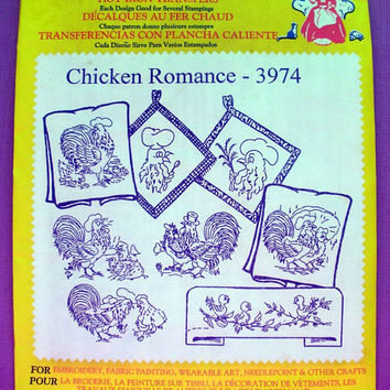 "Aunt Martha's ""Chicken Romance"" Hot Iron Transfer Pattern 3974 for Embroidery, Fabric Painting, Needle Crafts"
