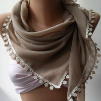 Stone Color - Shawl with Lace - Turkish Shawl - Anatolians Scarf - Very Soft cotton fabric.