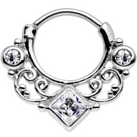 """16 Gauge 3/8"""" Clear Cubic Zirconia Lahori Palace Septum Clicker 