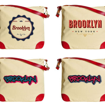 Brooklyn New York America Beige Printed Canvas Tote Bag Shoulder Bag WAS_33