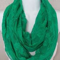 Stretch Green Lace Scarf Spring Infinity Scarf Fashion Circle Scarf Green Eternity Loop Spring Scarf Lace Infinity Scarf Accessories Fashion