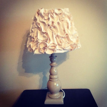 Fabric Ruffled Lamp Shade With Base