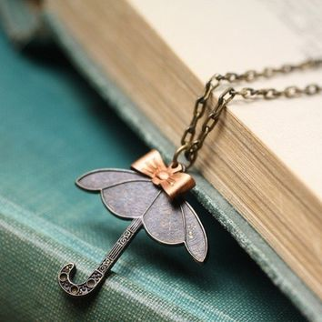 Umbrella necklace brass copper bow vintage style
