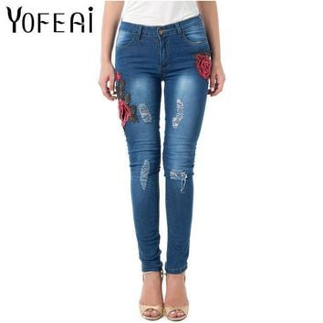 Yofeai Jeans Women Skinny Elastic Jeans For Women High Waist Vintage Embroider Flowers Jeans Ripped Denim Trousers For Women