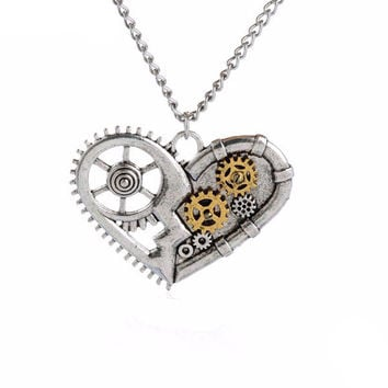 Gears Heart Steampunk Necklace