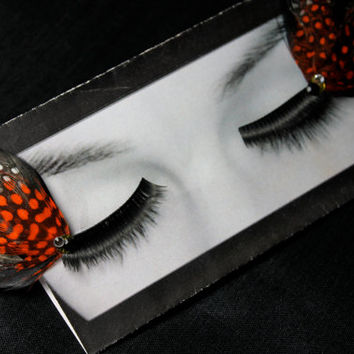 Orange, White & Black Monarch Butterfly Wing Feather False Eyelashes