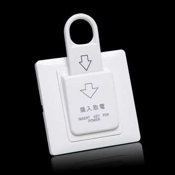FREESHIP 86x86cm Hotel Magnetic Card electric Switch 180- 250v  220V/25A push button Insert Key electrical power  control socket