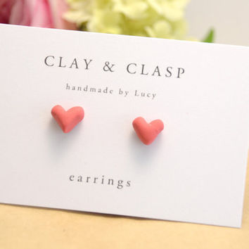 Love Heart Earrings - beautiful handmade polymer clay jewellery by Clay & Clasp
