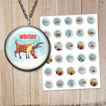 "Christmas Bottle cap images Digital Collage Sheets Winter Pendant images Jewelry making Craft Gift tag 1,313"" 1 inch 2 inches"