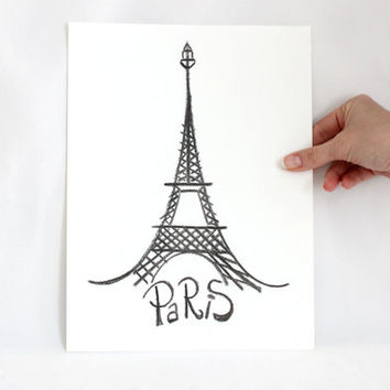 "12""x9"", Original Cities Art Drawing on paper, Eiffel Tower Paris original painting art decor, Charcoal pencil, Wall Decor, Office gifts"
