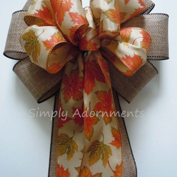Rustic Fall Leaves Wedding Bow Burnt Orange Wedding Pew Bow Thanksgiving Wreath Bow Fall Autumn Wedding Church Pew Bow