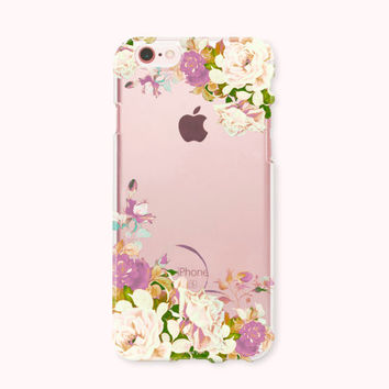 Crystal Clear iPhone 6 case, iPhone 6s case, iPhone 6 plus case, iPhone 6s plus case, iPhone 5S, iPhone SE Case, Galaxy Case- Lotus Blossom