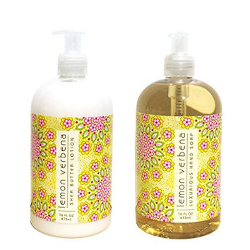 Greenwich Bay Lemon Verbena Shea Butter Hand & Body Lotion and Lemon Verbena Shea Butter Hand Soap Duo Set Enriched with Shea Butter 16 oz each