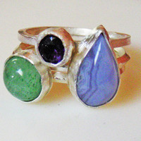 gemstone stacking rings, sterling silver, green and purple, bezel set, round and pear