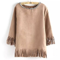 Round Neck Tassel Leather T-Shirt