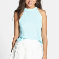 Lush Cutaway Shoulder Button Back Tank (Juniors)