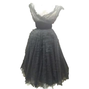 vintage 1950s black layered Chantilly lace cocktail dress
