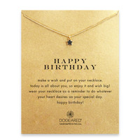 Dogeared, Happy Birthday Teeny Star Necklace, Gold Dipped 16 inch