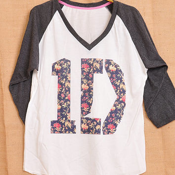 1D One Direction Logo Flower Flora Pop Indie Punk Tattoo Vintage Men Women Unisex T shirt V Neck Size S M L