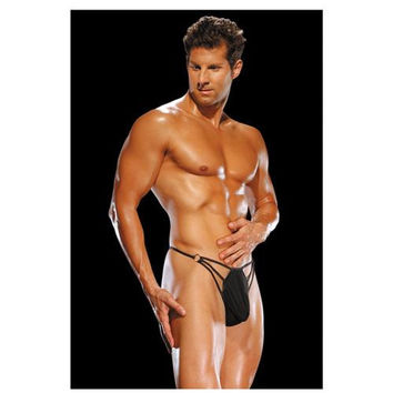 Male Power G-String w/Straps & Rings Black S/M