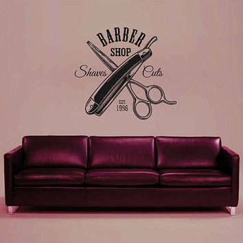 kik3258 Wall Decal Sticker Hairstyle mustache hairdo hairstyle for men barbershop