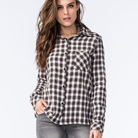 Rvca Jig 2 Womens Flannel Shirt Black/White  In Sizes