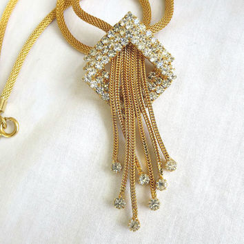 Vintage Mesh Chain and Triple Diamond Shape Clear Rhinestone Dangle Necklace
