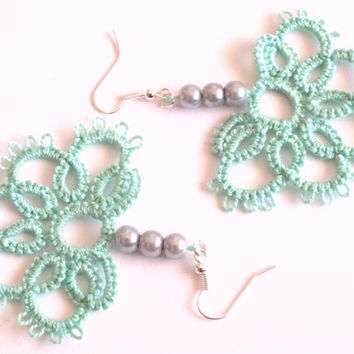 Mint Tatted Earrings with Grey Pearls, Aqua Green Half Flower Tatted Lace Earrings, Mint Tatted  Lace Earrings with Grey Pearls