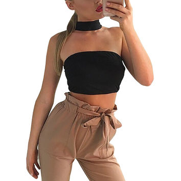Elegant high neck black bustier crop top Summer style white brief women tank top Sexy girls party off shoulder short halter tops