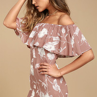 Roe + May Ravello Blush Pink Floral Print Off-the-Shoulder Dress