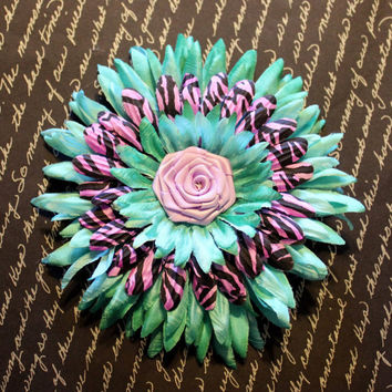 Turquoise & Purple Zebra Print Daisy Flower Hair Clip - Pin Up Hair Accessory
