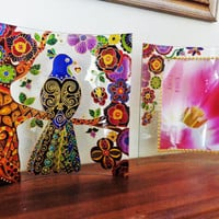 Bird art Set of 2 Photo frame Glass painting Stained glass Zentangle art