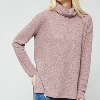 Mauve Folded Neckline Knit Top