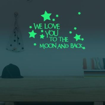 I Love You to the Moon and Back | Wall Decal Glow in the Dark
