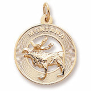 Montana Moose Charm in Yellow Gold Plated