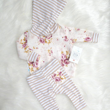 Newborn Take Home Outfit Baby Girl Hoodie and Leggings Set