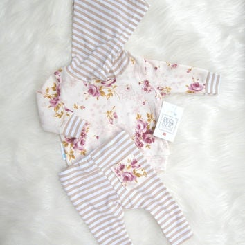 255a8fdeacaf Newborn Take Home Outfit Baby Girl Hoodie from SnugAsaBugClothes