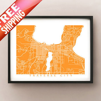 Traverse City Map Print - Michigan Poster