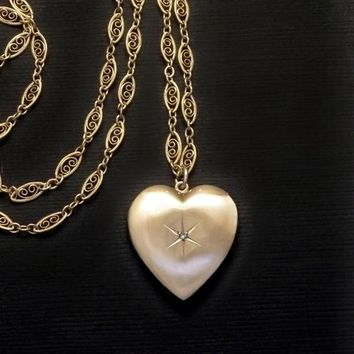 10K GOLD Heart DIAMOND Locket Long Filigree Chain