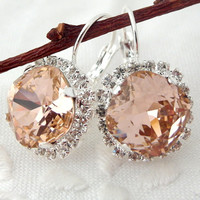 Pink and clear Swarovski crystal drop earrings, Bridesmaid gifts, Silver earrings, Bridal earrings, Crystal earrings, Swarovski earrings
