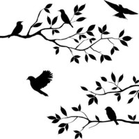 Lot 26 Studio Burnish Birds & Blossoms Vinyl Wall Decal, 16 x 24-Inches