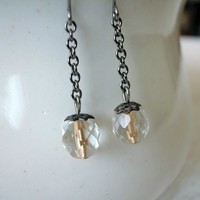 Gold Lined Faceted Clear Glass Bead Gunmetal Dangle Earrings Handmade